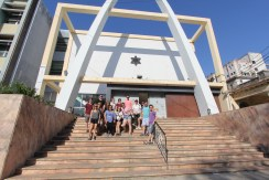 University of Miami Hillel students, here in front of the Beth Shalom synagogue in Havana, visited Cuba in March 2017 for an Alternative Spring Break. Photo credit: Jessica M. Castillo