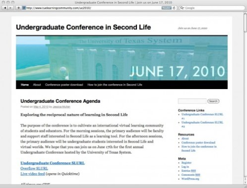 Undergraduate Conference in Second Life | Join us on June 17, 2010