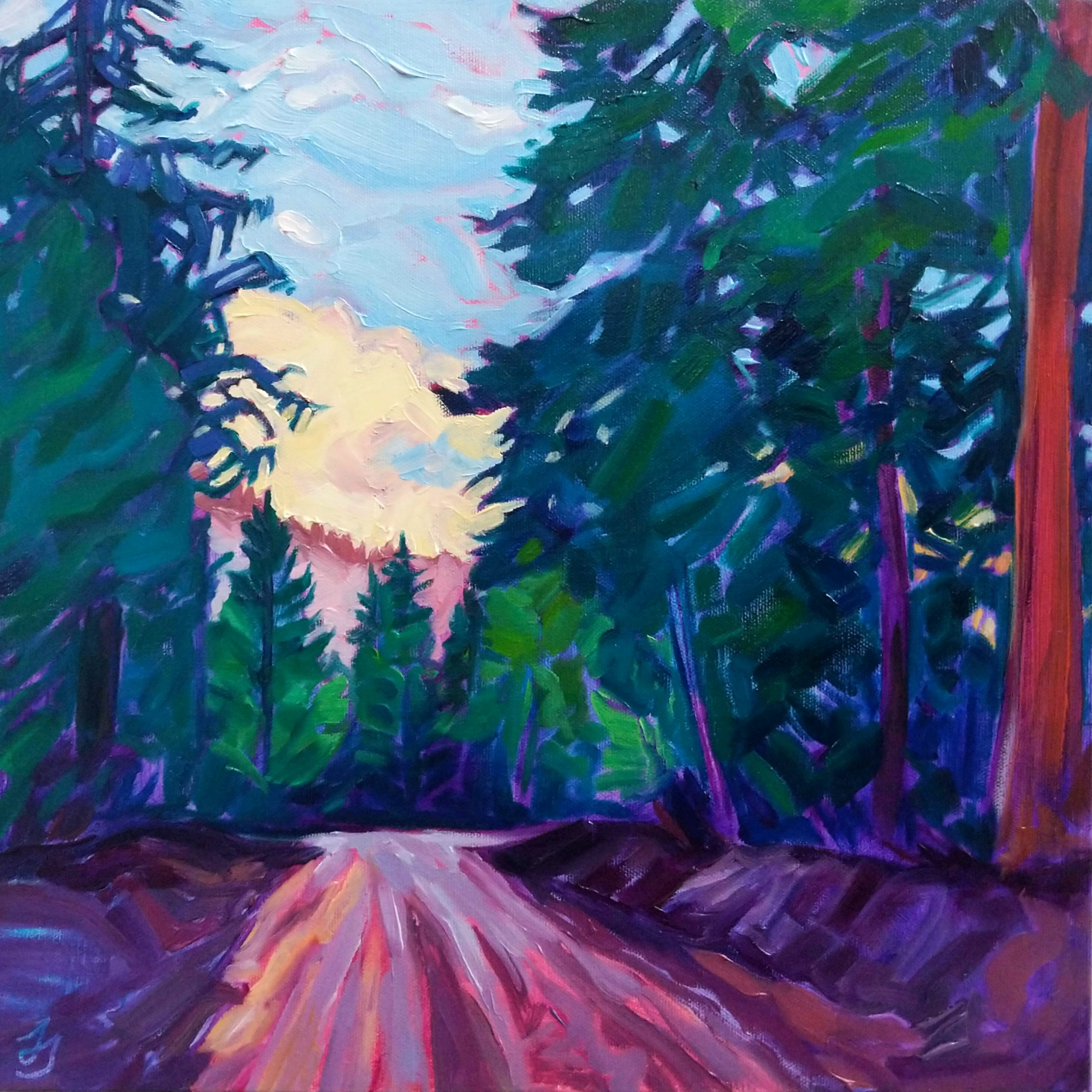 Down the Forest Road painting