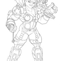 A design for a female Gears of War character. Eventually they did add female Gears from the third game, but they were disappointingly non-hench compared to the male characters. Bah!