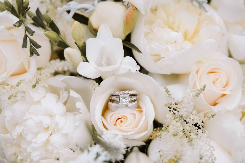 Jessica Patricia Photography_Wedding Photographer_Bridal Bouquet_Wedding Bands_Engagement Ring_White Roses_Calla Lily_White Peony