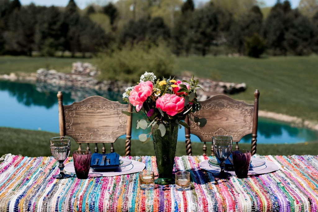Boho Themed Elopement Shoot table setting