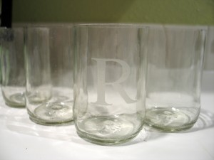 hand cut glasses with etched design, monogram