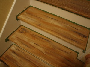 MDF stairs painted to look like real wood