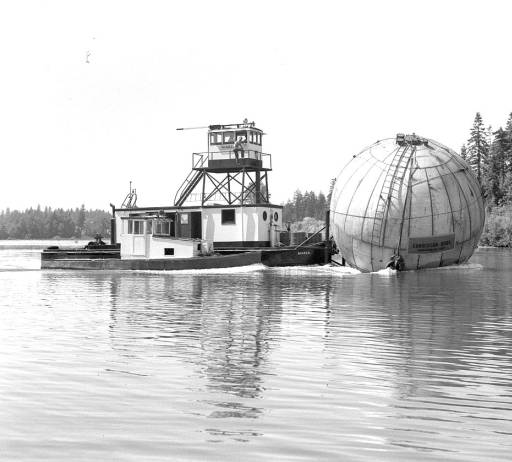 Globe tank for acid storage in Salem, Oregon, 1960