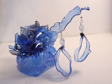 Lisa Miller created earrings from a heated water bottle.