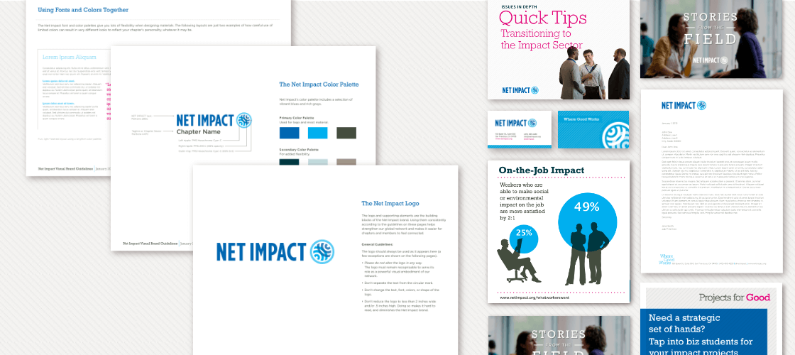 Excerpt of Net Impact style guide and assorted designed material, including letterhead and business cards.