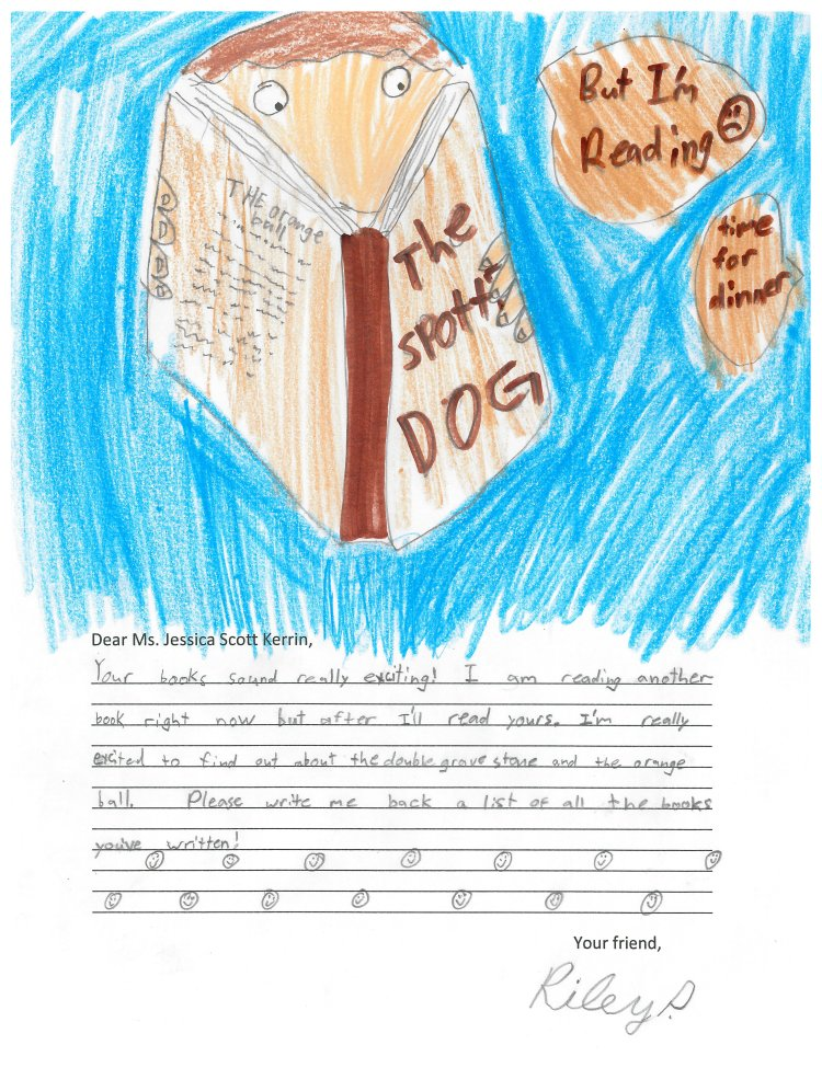 Drawing of a child reading a novel called The Missing Dog is Spotted.