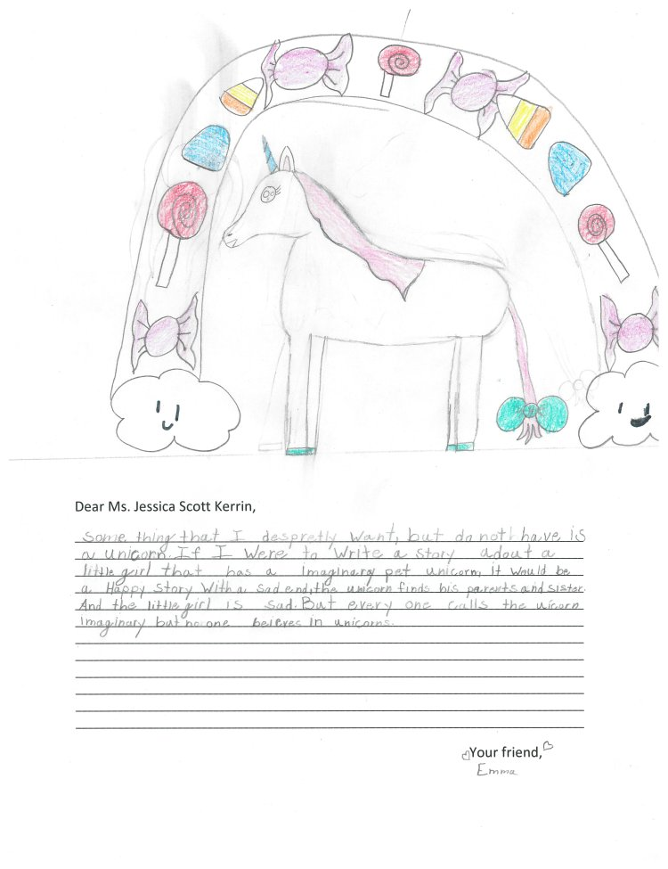 Child's drawing of a unicorn