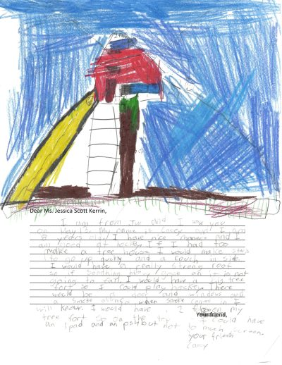 Children's drawing of a tree house with a yellow slide