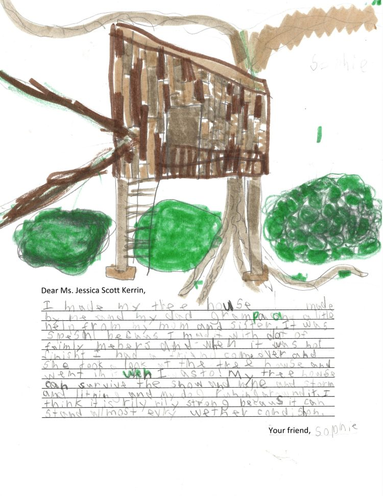 Child's drawing of an all-weather tree fort