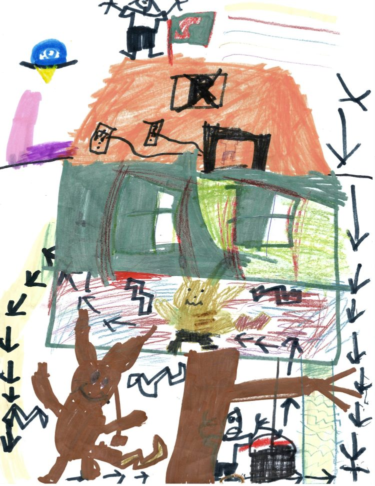 Child's drawing for a tree fort