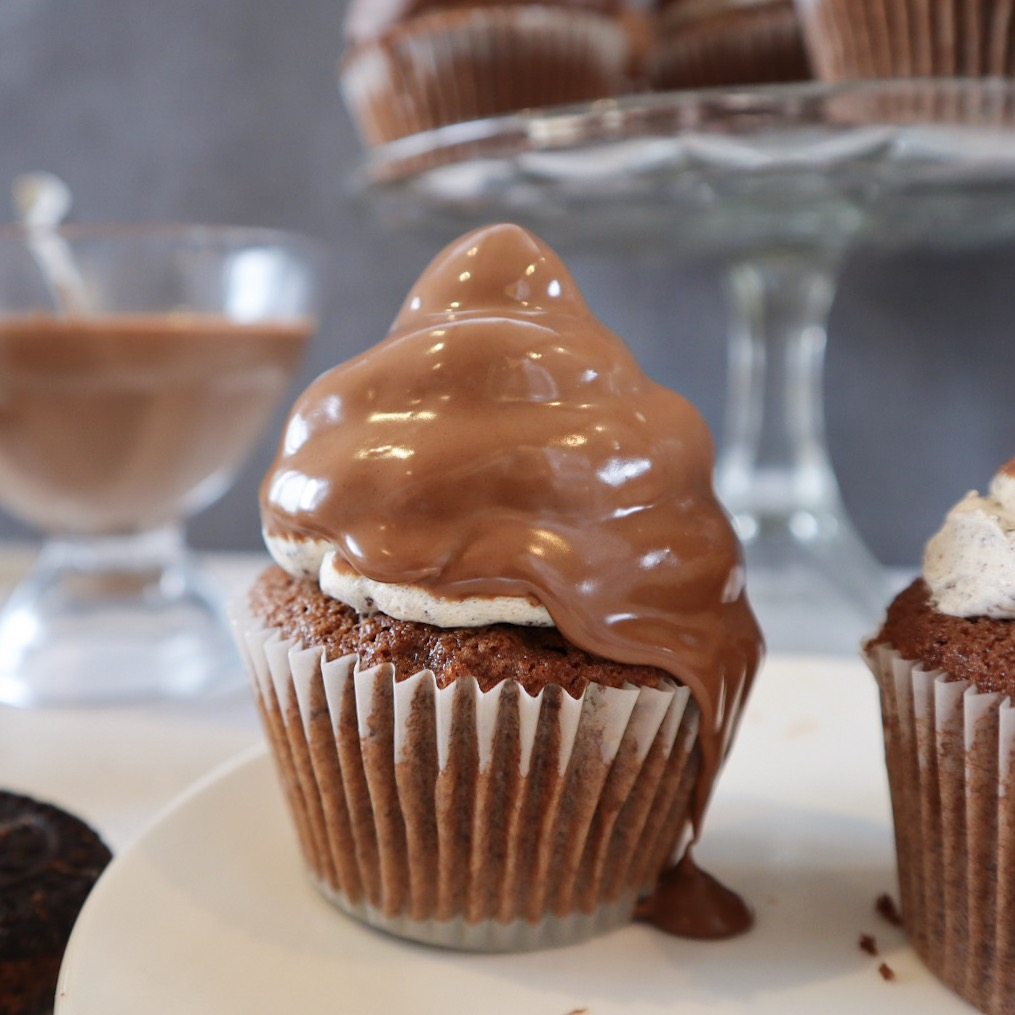 chocolate dipped cupcake