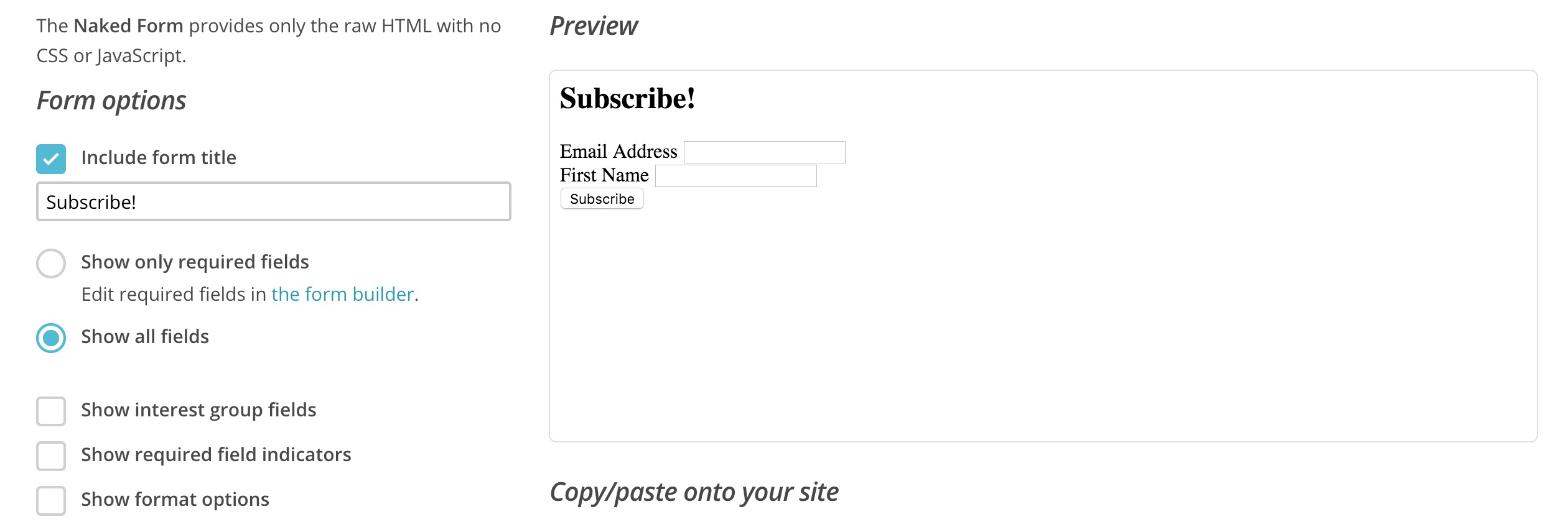 How To Customize The MailChimp Signup Form - Mailchimp template width