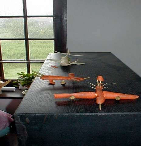 The Family Art Project, Li Min School (making airplanes out of veg), Island 6, Shanghai, 2006x