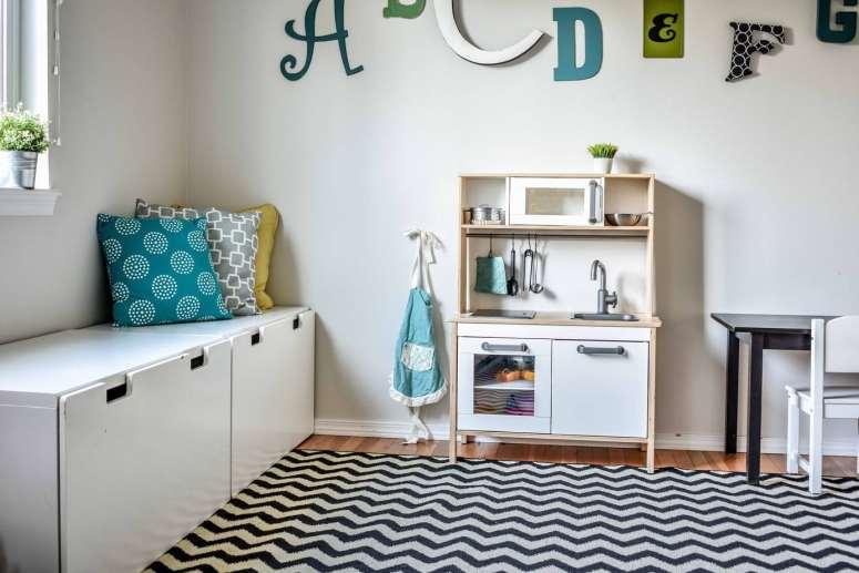 Playroom @jessicawellinginteriors.com, play kitchen, stuva,  ikea duktig