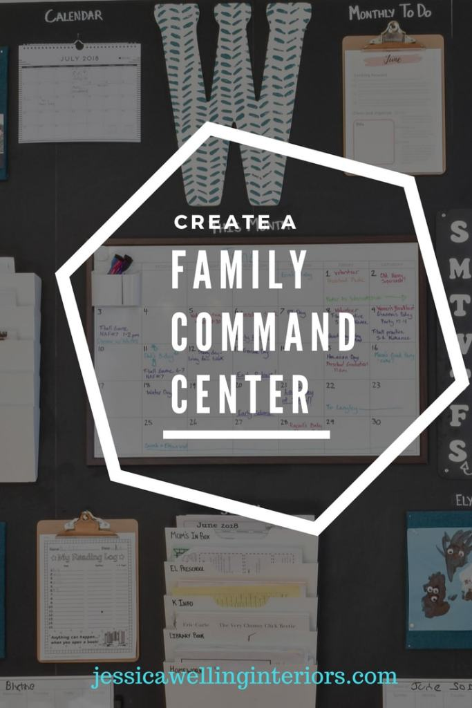 This DIY chalkboard family command center puts everything the kids need for school on a kitchen wall. It could also go in a mudroom or entryway. It has a calendar, menu board, homework organizer, mail sorter, bulletin boards, and more!
