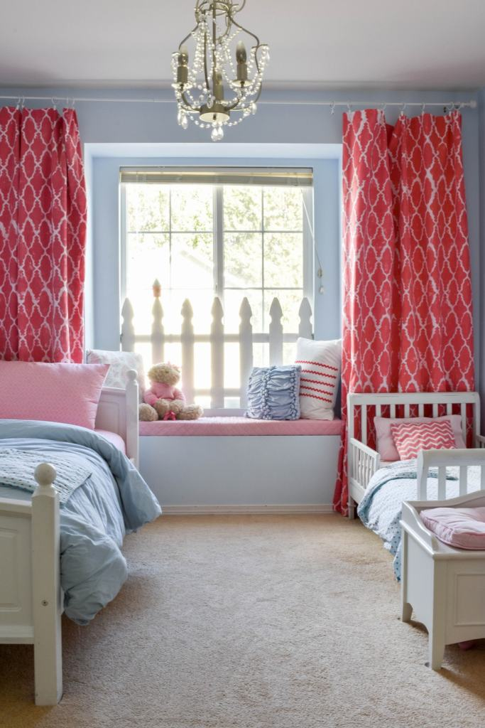Girls Room @jessicawellinginteriors.com, coral and blue girls room, kids room