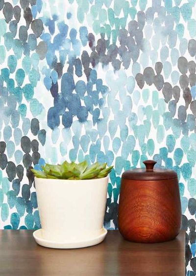 photo of blue green and teal wallpaper with potted plant