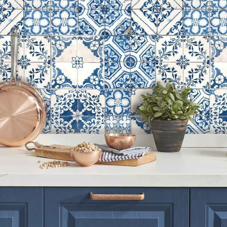 photo of kitchen backsplash with blue and white tile wallpaper