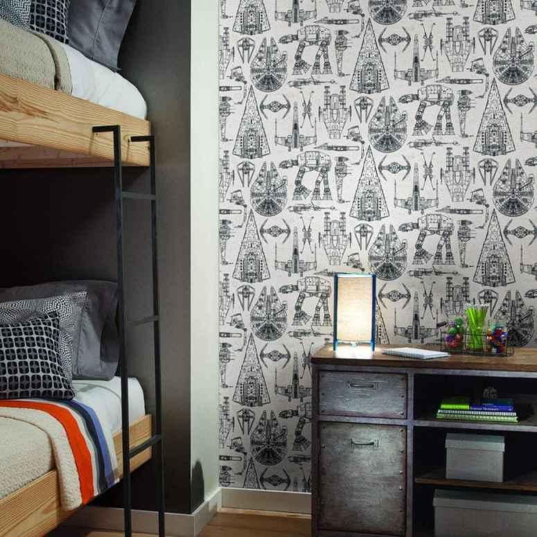 photo of kids bedroom with Star Wars wallpaper