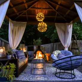 photo of gazebo with outdoor fireplace
