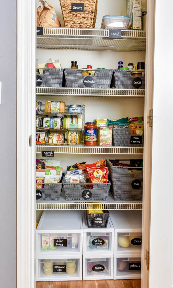 photo of organized pantry with storage baskets