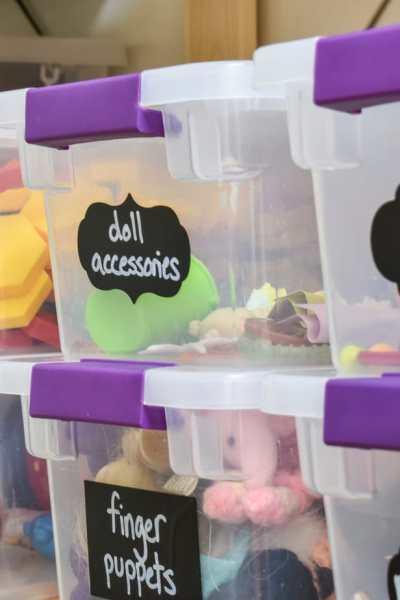 photo of organized toy bins