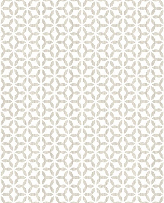 photo of white wallpaper with beige geometric pattern