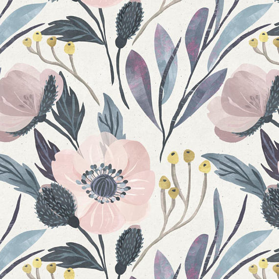 photo of pink, blue and grey floral wallpaper