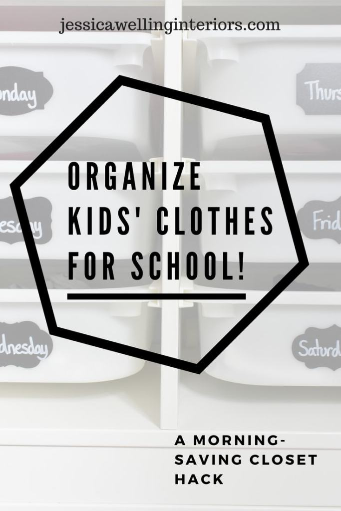 photo of organized kids closet for back to school