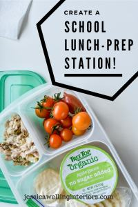 photo of school lunch in bento box with school lunch-prep station