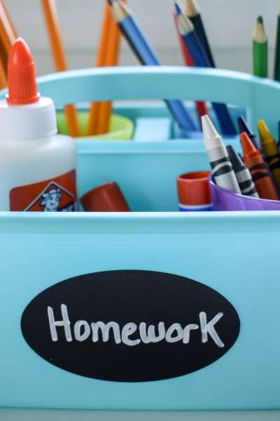 photo of organized homework caddy