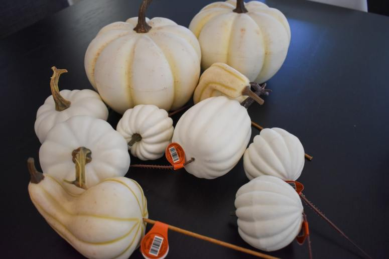 photo of white pumpkins for Fall centerpiece