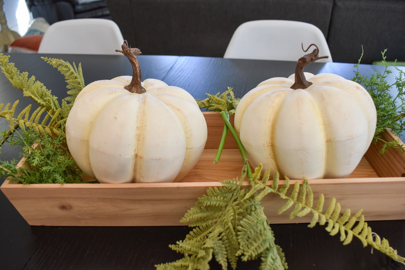 photo of fall centerpiece with white pumpkins