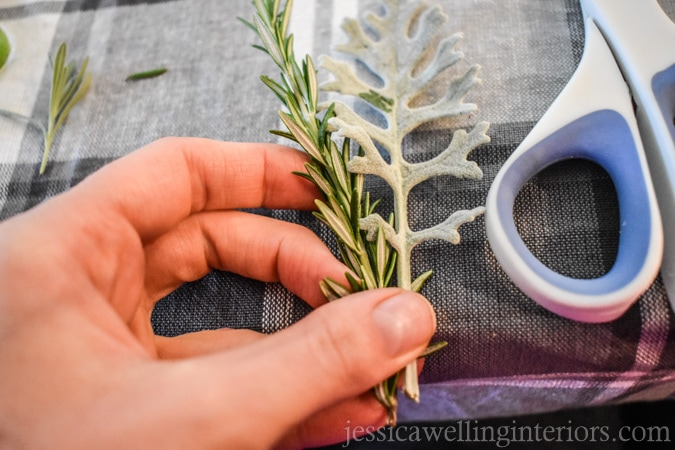 photo of how to make simple place card holders with fresh herbs