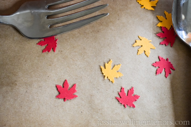 image of leaf confetti on Thanksgiving kids table