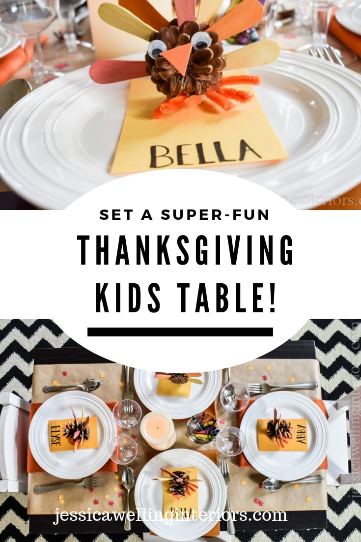 image of kids thanksgiving table with pine cone turkeys and crayons