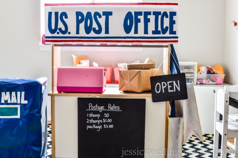 image of play post office with mailboxes