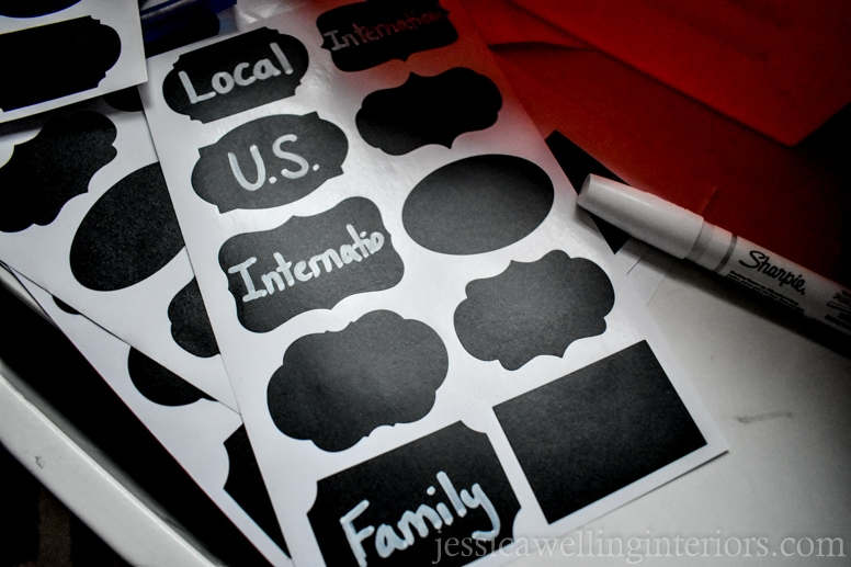 image of chalkboard sticker labels for play post office