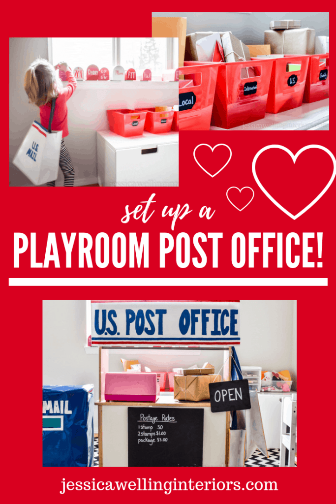 image of play post office with mailboxes, mail-sorting bins, & mail delivery bags
