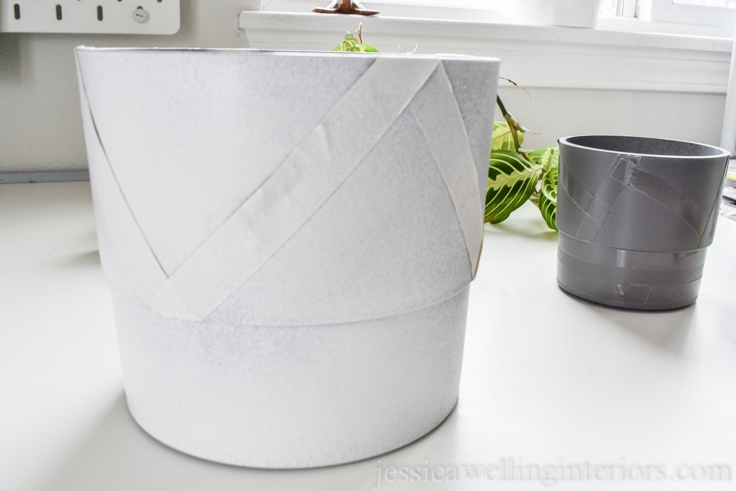 image of modern indoor planter spray painted white