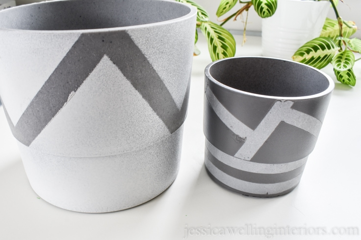 image of hand painted modern indoor planters