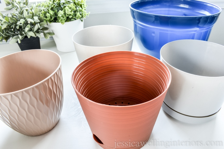 image of plastic planters from Dollar Tree