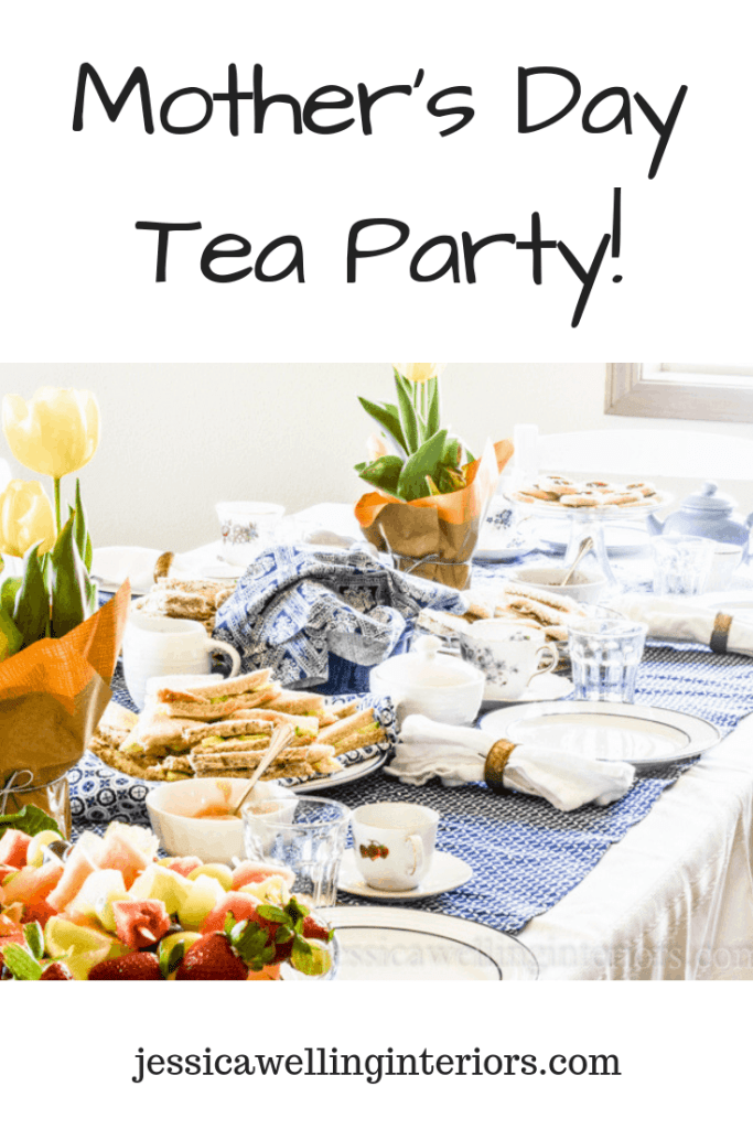 image of blue and white Mother's Day Tea party table setting