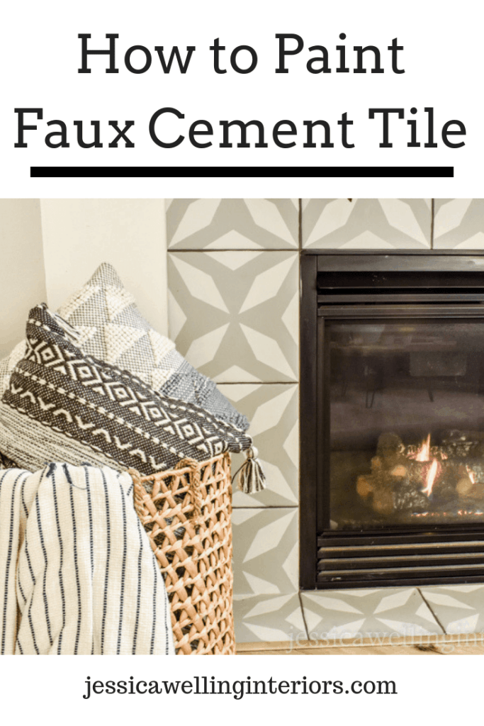 How to Paint Faux Cement Tile: fireplace with painted faux cement tile in grey and white with basket of throw pillows and blankets in foreground