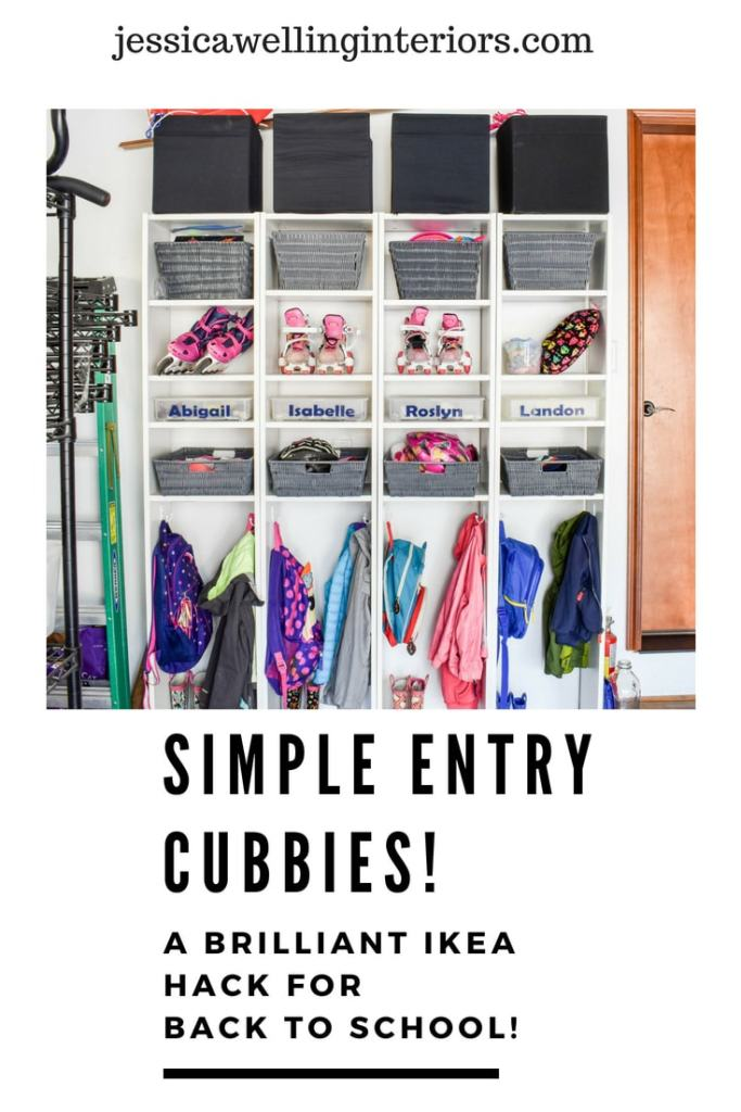 Simple Entry Cubbies! A Brilliant Ikea Hack for Back to School! Billy bookcases lined up to form a backpack organizer in a garage