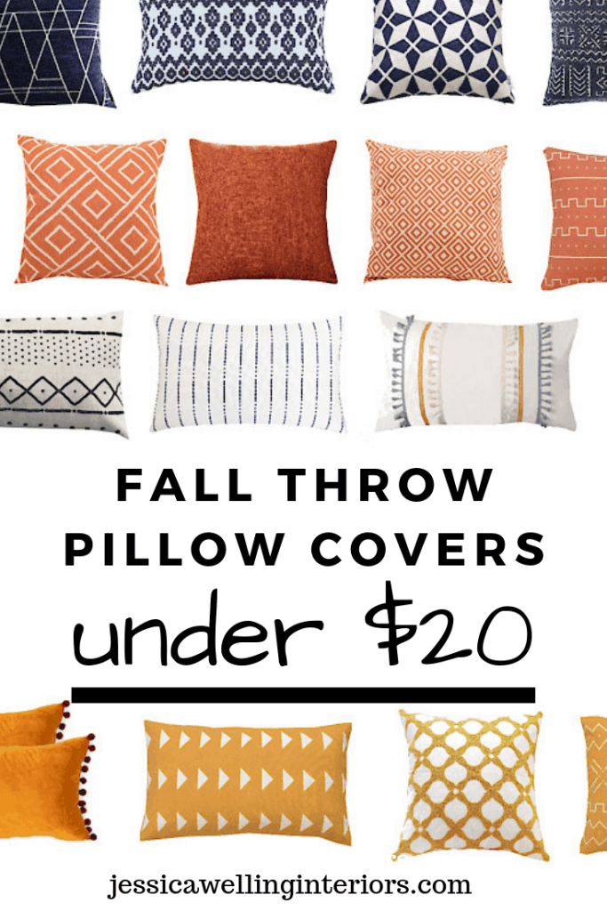 Fall Throw Pillow Covers Under $20 white, grey, yellow, orange, and navy throw pillows on a white background