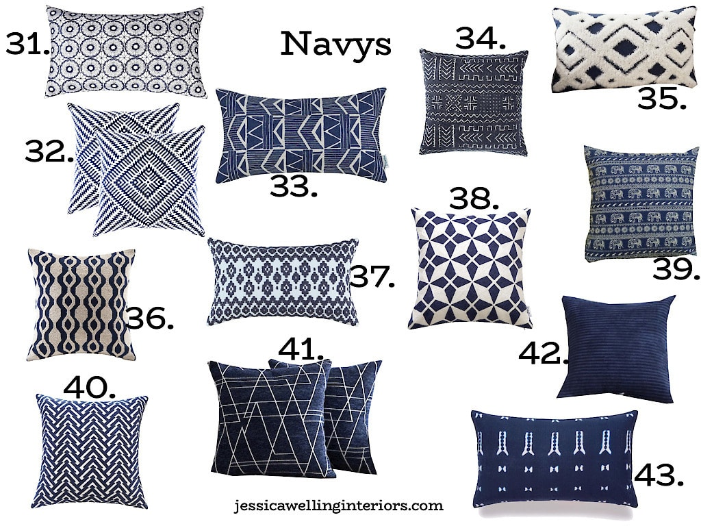 Navy Throw Pillow Covers: modern navy blue and white patterned throw pillows on a white background, numbered 31-43