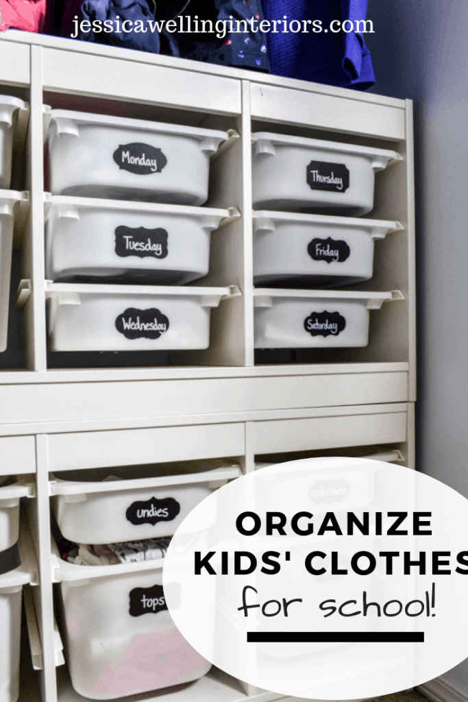 Organize Kids' Clothes for School: image of 2 IKEA TROfast bin/drawer units stacked with days of the week chalkboard sticker labels